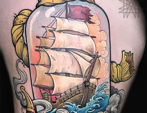 Ship in a Bottle Tattoo
