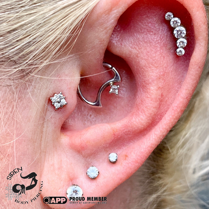 New Tragus Bvla Diamonds With Healed Daith And Helix Midnight