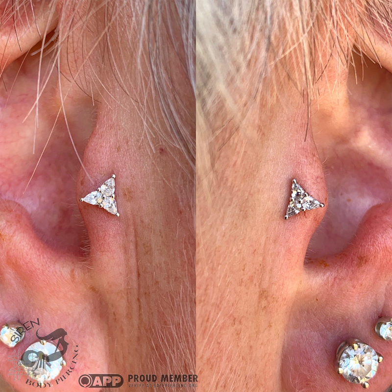 Paired Tragus piercings with white gold trinity tops