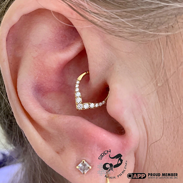 Fresh Daith with 14k yellow gold _Rise and Shine_ Clicker