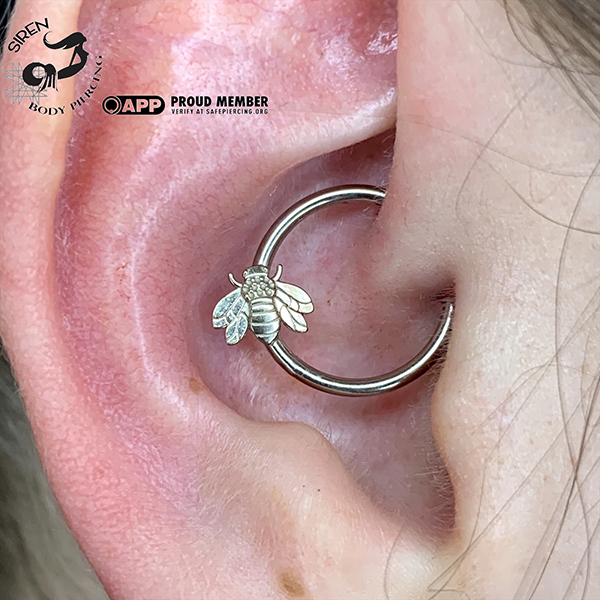 Fresh Daith with White Gold Bee ring